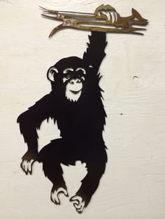 Adorable metal chimp hanging swinging from a limb. Could he be any cuter!? Monkey, Chimp, Gorilla, Ape, Silhouette, Zoo Animals, Safari