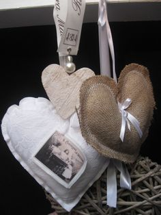 make hearts from burlap w/lace trim & picture of Z Or wedding pics of ancestors or guests.