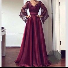 V Neck Lace Sleeves Prom Dress , Charming Prom Dress Hijab Dress Party, Hijab Evening Dress, Evening Dresses, Simple Dresses, Elegant Dresses, Pretty Dresses, Beautiful Dresses, Prom Dresses Lace Sleeves, Lace Dress