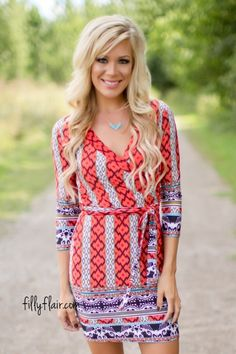This printed dress is the perfect fall outfit!