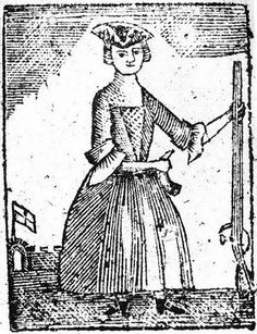 Lady Liberty is holding a musket & powder horn, ready to fight for freedom. 1779 Broadside. New York Historical Society. SY1779 No. 2.