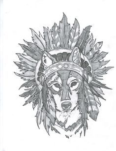 Extremely rough drawing I did as a potential tattoo for myself #wolf #headdress #tattoo #drawing