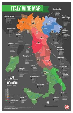 See an easy to understand map of Italian wine regions and major wine varieties. #Italy #wine