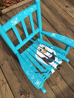 Hand-painted Olaf kids rocking chair! #redfeatherdesigns #frozen: