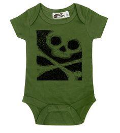 Sketched Skull Olive & Black One Piece - My Baby Rocks www.punkbabycloth... www.mybabyrocks.com #mybabyrocks #punkbabyclothes #baby