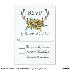 Rustic Antlers Boho Sunflowers Wedding RSVP Card - With enchanting rustic boho style, this wedding RSVP Card design features deer horns beautifully embellished with a bouquet of sunflowers and greenery. Sold at Oasis_Landing on Zazzle.