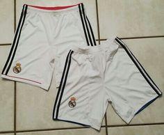 ADIDAS Real Madrid WHITE Soccer Shorts #realmadrid#championsleague#soccer#futbol#laliga#uefa#jerseys#ebay#ebayseller Soccer Uniforms, Soccer Shorts, Real Madrid, Custom Made, Sportswear, Adidas, Ebay, Fashion, Moda