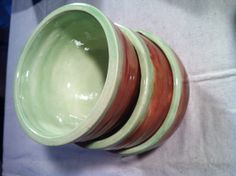 Set of 3 Sea Foam and Brown Ceramic Pottery by GoodMorningFox, $45.00