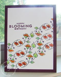 Bordering Blooms Freshly Made - some flowers cut out and mounted, clear wink of Stella used on flowers & leaves Diy And Crafts, Paper Crafts, Wink Of Stella, Cool Cards, Flower Cards, Anniversary Cards, Stampin Up Cards, Making Ideas, Cardmaking