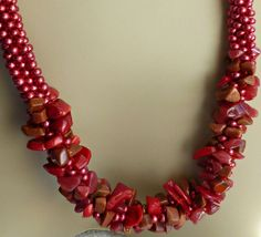 Red beaded Kumihimo cluster necklace adjustable by TheBeckoningCat