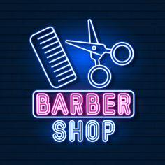 Vector of logo neon sign barber shop for... | Premium Vector #Freepik #vector #light #typography #wallpaper #font Logo Neon, Beauty Salon Interior, Shop Logo, Shop Lighting, Name Signs, Tattoo Studio, Led, Logo Design, Typography Wallpaper