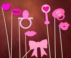 Glitter Baby Shower Photo Booth Props - 8 Piece Set - Pacifier, Rattle, Lips, Bow - Parties, Baby Shower, Glitter PhotoBooth Props by PrettyCollected on Etsy https://www.etsy.com/listing/185549886/glitter-baby-shower-photo-booth-props-8