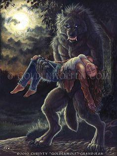 Lycan Anubis Armando Werewolf with a Woman Print Dark Fantasy Art, Fantasy Artwork, Fantasy Creatures, Mythical Creatures, Werewolf Art, Werewolf Drawings, Wolves And Women, Wolf Spirit Animal, Ange Demon