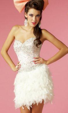 White Strapless Short/Mini Feathers/Fur Feather Prom Dress PD2DA1