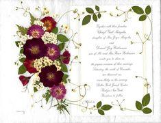 Pressed Flower Designs | Pressed Flower Art - Framed Wedding Invitations