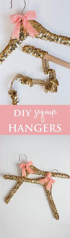 DIY sequin wedding hangers
