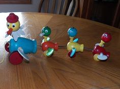Vintage 1956 Wood Gabby Goofies Duck Family Pull Toy, Mama & Ducklings