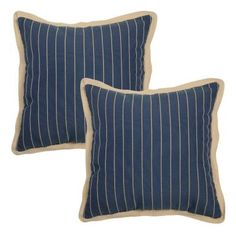 Hampton Bay 18 in. Midnight Stripe Outdoor Toss Pillow with Brown Linen Trim (2-Pack)-7643-02003200 - The Home Depot