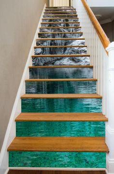 Full Stair Riser Decals – Page 2 – RiserArt Stairway Art, Stairway Lighting, Escalier Art, Beautiful Winter Scenes, Beautiful Stairs, Beautiful Things, Floor Murals, Floor Wallpaper, Stair Decor