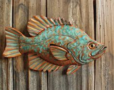 Chinook Salmon trophy-sized copper metal trout by natureartstudio