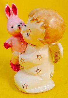 Very Rare! Cute Boy Angel Pink Bunny Rabbit Vintage Figurine Fine A Quality Fun | eBay