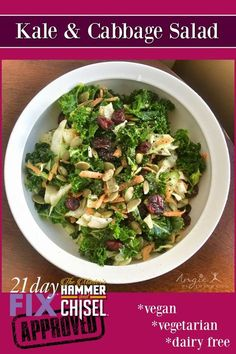 Kale & Cabbage Salad - DELICIOUS!!! 21 Day Fix, Hammer and Chisel Approved, Clean Eating, Vegan, Vegetarian, Dairy Free http://www.facebook.com/angieinprogress for daily recipes, tips and motivation