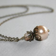 Champagne Pearl Necklace by smilesophie on Etsy. For my bridesmaids!!!!