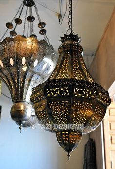 Moroccan Hanging Lamp - Pierced Brass Pendant 2 : Moroccan Lamps