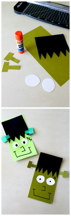 Frankenstein Paper Craft, Create your own kids activity with a Frankenstein Lab! Cut out shapes and let kids glue together. Also great practice using a glue stick!