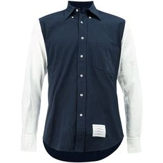 Thom Browne Contrasting Button-Down Shirt ($690) ❤ liked on Polyvore featuring men's fashion, men's clothing, men's shirts, men's casual shirts, blue, mens casual button up shirts, mens curved hem t shirt, mens button down shirts, mens casual long sleeve shirts and mens blue button down shirt