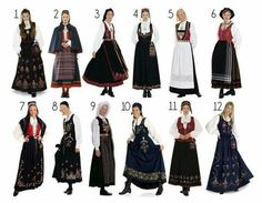 Bunad. Traditional clothing used for special occasions. These are from different locations accross the country.