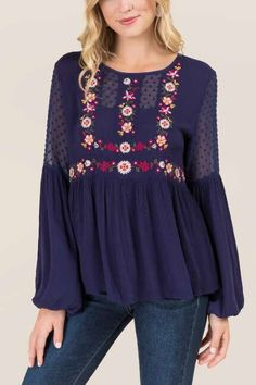 Bronte Embroidered Swiss Dot Blouse