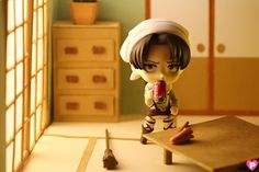 Cleaning at home with Nendoroid Levi by Pinkcheeks