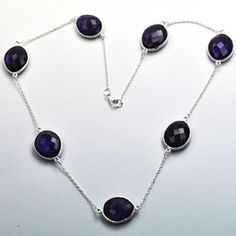 Amethyst Hydro 18 Sterling Silver Necklace Gemstone: Amethyst Stone Size: 13x18 MM Stone Shape: Talpy Weight: 16.5 Gram Necklace Size: 18 CM