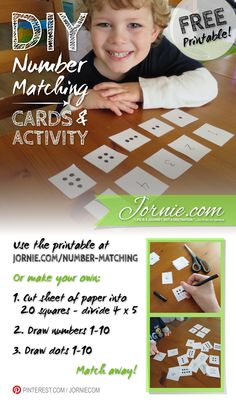 DIY Number Matching Cards & Activity ~ great for teaching preschoolers their numbers and basic math skills! #prek (repinned by Super Simple Songs)
