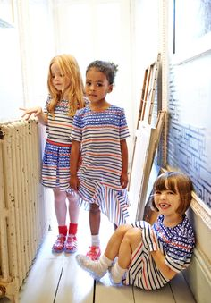Nautical colourways for spring 2015 girlswear by Mini Preen