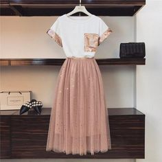 2019 Summer Women Pink Sequined Pocket Short-sleeved Cotton T-shirt + Star Sequins Long Mesh Skirt Set Girls Cute Two-piece Sets – T-Shirts & Sweaters Girls Fashion Clothes, Teen Fashion Outfits, Girl Fashion, Fashion Dresses, Fashion Design, Mode Kpop, Mesh Skirt, Lace Skirt, Cute Casual Outfits