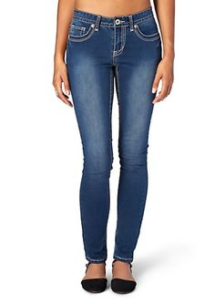 Thick Stitch Dark Wash Brushed Skinny Jean in Long | Skinny | rue21