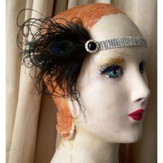 flapper headband in black and silver with bird friendly feathers and... ($32) ❤ liked on Polyvore