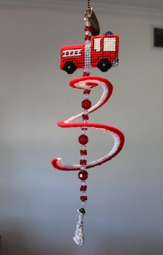 FIRETRUCK Wind Spinner Hand Embroidered and by SJNCreations