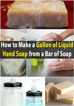 Money Saving DIY – Make a Gallon of Liquid Hand Soap from a Bar of Soap. Grate the soap, dissolve in hot water, leave for 12 hours to thicken, then beat out lumps! We have been getting ripped off by the soap manufacturers! Cleaning Recipes, Soap Recipes, Cleaning Hacks, Cleaning Solutions, Diy Cleaners, Cleaners Homemade, Savon Soap, Liquid Hand Soap, Natural Cleaning Products