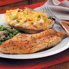 Cajun Baked Catfish - I dipped them in some buttermilk first. This was yummy (even to Mark who thought you should only fry catfish!).