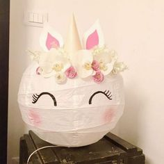 a paper ball for custom unicorn lighting - Home Decor -DIY - IKEA- Before After Unicorn Rooms, Unicorn Bedroom, Ikea Hack Kids, Ikea Hacks, Diy For Kids, Crafts For Kids, Paper Balls, Unicorn Crafts, Unicorn Birthday Parties