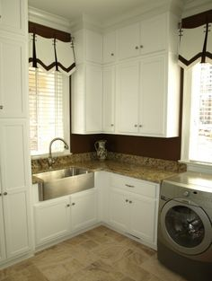 traditional laundry room by Webber Coleman Woodworks. Cute curtains.