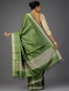 Buy Green Tussar Silk Saree Sarees Woven A Riot of Colors Colorful in and Kota doria fabric raw Online at Jaypore.com