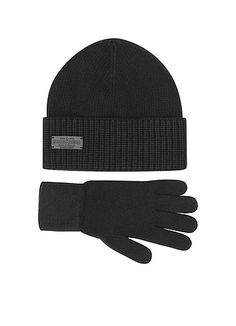 DSquared2+Black+Wool+and+Cashmere+Set+of+Gloves+&+Hat