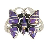 Sterling Silver Butterfly Ring Purple Turquoise R2037-C07