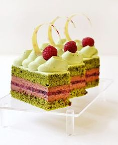 green tea-raspberry & chocolate mousse - Chef Bruno for RWS at Boulangerie Fancy Desserts, Gourmet Desserts, Just Desserts, Delicious Desserts, Plated Desserts, Tea Recipes, Dessert Recipes, Dessert Food, Green Tea Dessert