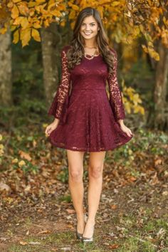 Lace dress bell sleeves crop