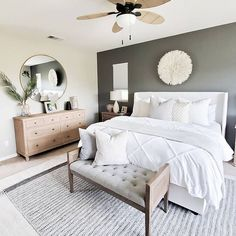 Neutral master bedroom details care of for Desi. - Neutral master bedroom details care of for Desi. Bedroom Decor Master For Couples, Master Bedroom Design, Home Decor Bedroom, Master Bedrooms, Master Suite, Bedroom Inspo, Bedroom Plants, Simple Bedrooms, White Bedroom Decor